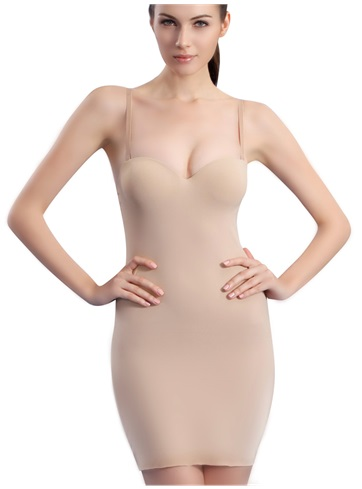 PPZ Slimming Full Slip Shapewear Khaki, Size:32A, - Boosts your bust and shapes your tummy, waist, hips and thighs for a pinup-perfect body under form-fitting dresses. To get it on, just step in for no make-up muss, no blow-out fuss. With this power-trip slip, you can have your cake and still look great!